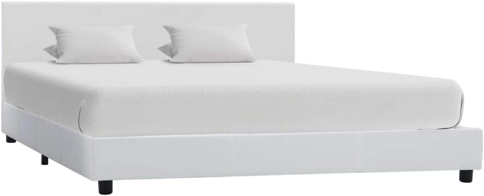vidaXL Estructura de Cama Cuero Sintético Mobiliario Somier Dormitorio Decoración Diseño Clásico Elegante Robusta Duradera Cómoda Blanco 120x200cm