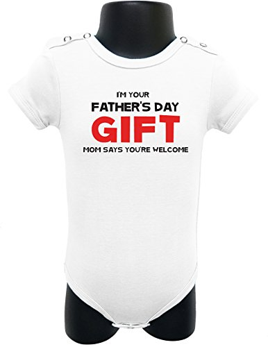92 BABY ROMPER SHORT SLEEVE ONESIE UNISEX I'M YOUR FATHER'S DAY GIFT BAGGED A&G (0-6 Months, White)