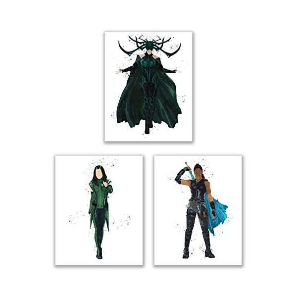 4168ywIsI5L Watercolor Avengers Girls Prints - Set of 15 (8x10 Inches) Glossy Comic MCU Wall Art Decor - Black Widow- Captain Marvel…