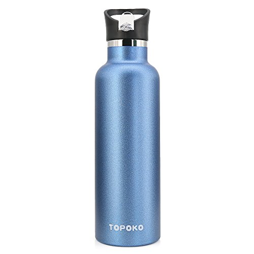TOPOKO 25 OZ Double Wall Water Bottle Straw Lid with Handle, Vacuum Insulated Stainless Steel Bottle, Sweat Proof, Leak Proof Thermos Standard Mouth, Vacuum Seal Cap Mug (Straw Lid Blue) by TOPOKO (Image #1)