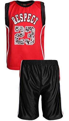 Mad Game Boys' 2-Piece Basketball Athletic Tank Top and Shorts Set, Red/Black Respect, Size 16/18'