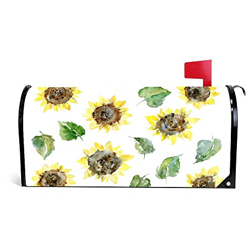 Yilooom Sunflowers Flowers Clipart Floral Mailbox Cover Magnetic Mail Box Wrap Yard Garden Decor 17.25 X 20.75 Inches]()