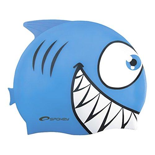 Spokey Haifisch für Kinder, Badekappe, Bademütze, Badehaube, Cap , spokey:Hai / 87473 hellblau