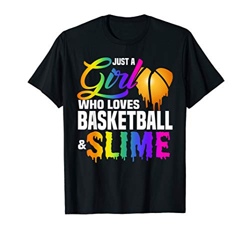 Just A Girl Who Loves Basketball and Slime Gift Kids T -