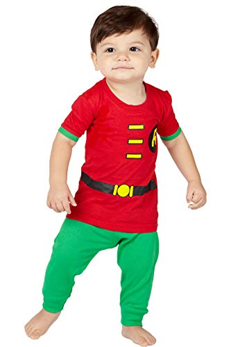 DC Comics Baby Boys' Short Sleeve LL Robin 2 Piece Cotton Infant, Red, 12 -
