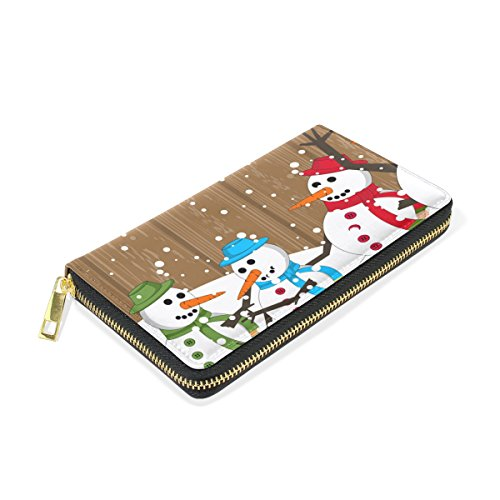 Organizer Christmas And Purses Snowman Wallet Handbags Zip Around Clutch Womens Merry Colorful TIZORAX nZw4xq0OO
