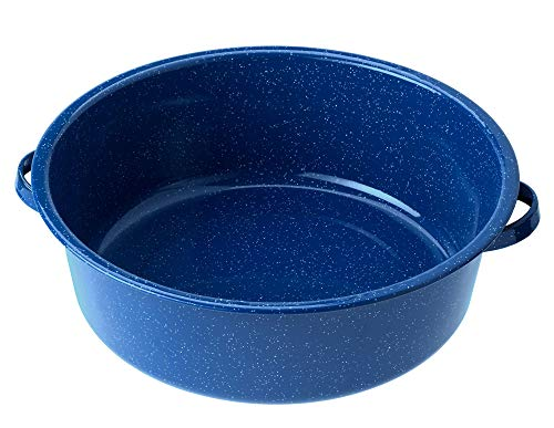 GSI Outdoors Enameled Steel Dish Pan Used as a Cooking and Dish Washing Bowl at Camp (Antique Water Basin)