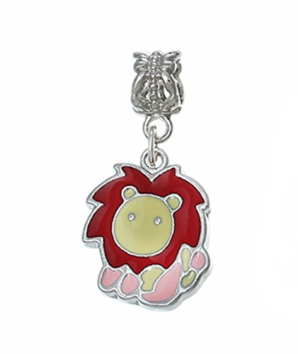 Zodiac Leo The Lion Pink Red Tan Enamel Dangle Charm for European Bead Bracelets Crafting Key Chain Bracelet Necklace Jewelry Accessories Pendants