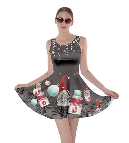 CowCow Womens Roses Light Red Hand Drawn Xmas Gnome Winter Skater Dress - 2XL ()