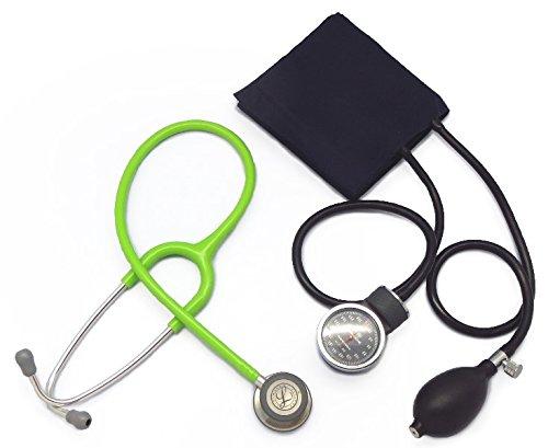 [セット、ネームタグ付]リットマン聴診器 クラシック3(ライムグリーン5829)+アネロイド血圧計(ダークブルー) B01HFZGTEI ライムグリーン 5829 ライムグリーン 5829