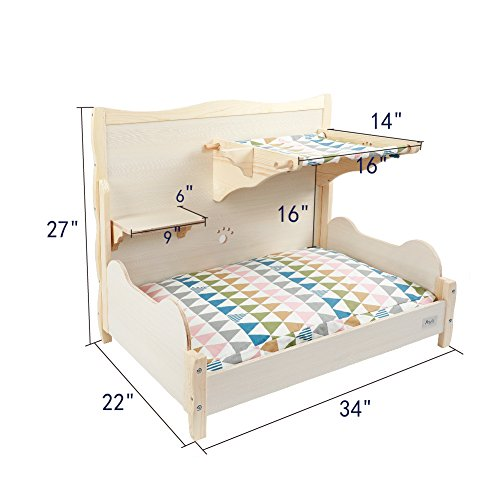 "Petsfit Comfortable Bunk Bed for Your Pets with Scratching Pad/Stair/Mat 34"" x 22"" x 27"""