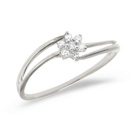 0.14 Carat ctw 10k Gold Round White Diamond Flower Cluster Split Shank Bypass Promise Engagement Ring - White-gold, Size 7.5 by Jewel Tie (Image #1)'