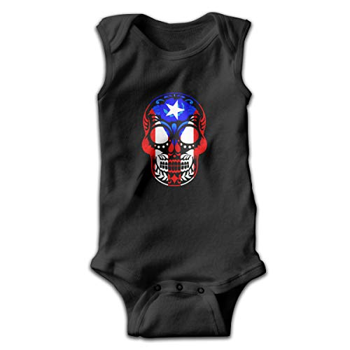 Sugar Water Purple Shirt - Puerto Rican Flag Sugar Skull Baby Boy's Girls' Sleeveless Cotton Bodysuits