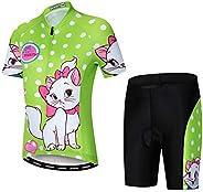 Weimostar Children Boys' Girls' Cycling Jersey Set Short Sleeve 3D Padded Shorts Br