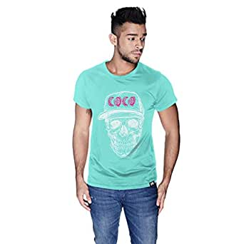 Creo White Pink Coco Skull T-Shirt For Men - L, Green