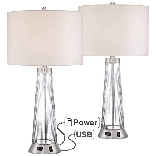 Hamish Modern Table Lamps Set of 2 with USB and AC Power Outlet Ribbed Glass White Drum Shade for Living Room Family - Possini Euro Design ()