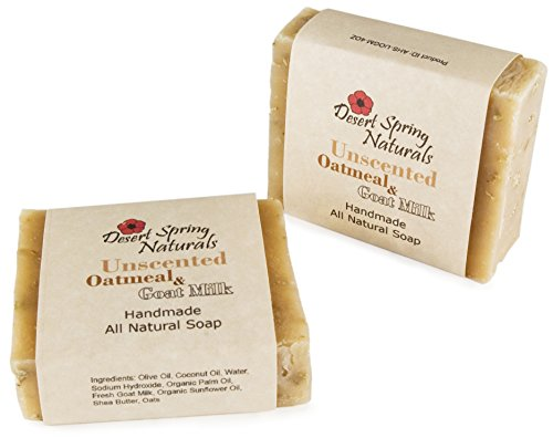 All Natural Unscented Oatmeal Goat Milk Bar Soap by Desert Spring Naturals Made with Olive & Coconut Oil (2 Bar - Honey Goats Soap Milk