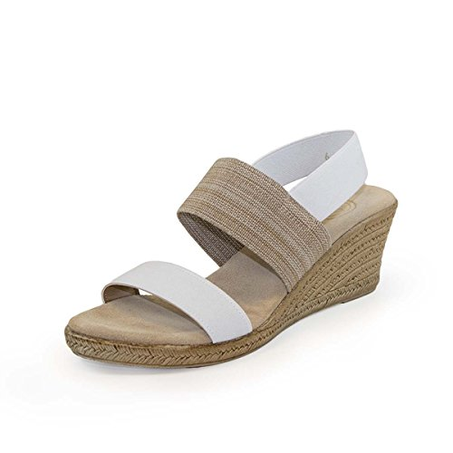 a799b00f54f3 Cooper Sling-Back Espadrille Wedge Sandal - White - Size 6 - by Charleston  Shoe