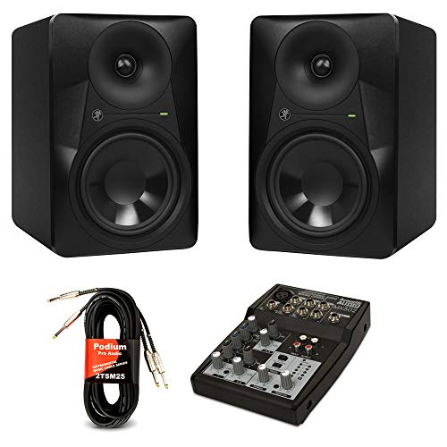 65w Acoustic Amplifier - Mackie MR624 Powered Studio Monitors with 5 Channel Mixer 2-Way Active Bi-Amplified Speakers