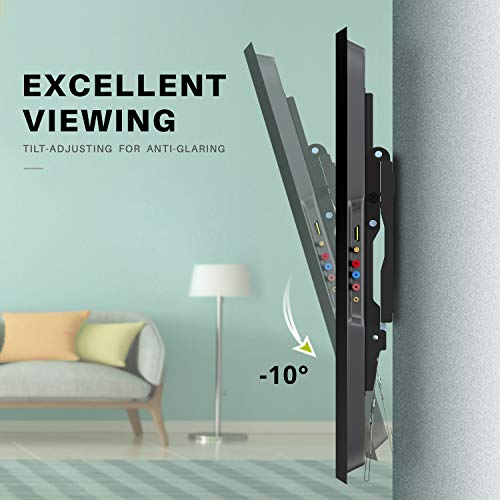"USX MOUNT Tilt TV Wall Mount Low Profile, Tilting TV Mount Bracket for Most 26-55"" Flat Screen LED, LCD, OLED, 4K TVs, TV Bracket VESA 400x400mm-Weight Capacity Up to 99lbs, Space Saving for 16"" Stud"