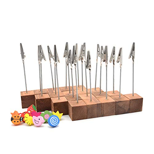 - RETON 20 Pcs Lightweight Wooden Cube Base Memo Clips Holder Stand with Alligator Clip Clasp and 10 Pcs 3D Wooden Push Pins Thumb Tacks (Retro Color)