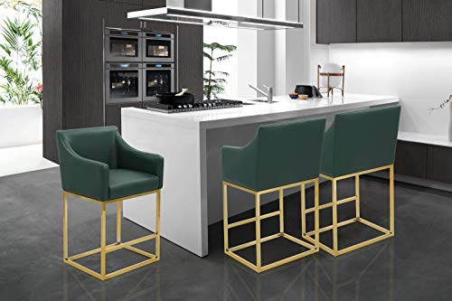 Iconic Home FCS9404-AN Bluebell Counter Stool Chair PU Leather Upholstered Slope Arm Design Architectural Goldtone Solid Metal Base Modern Contemporary, Green (Green Bar Emerald Stools)