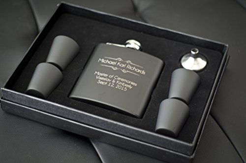 The-Personalized-Gift-6-Piece-Custom-Engraved-Flask-Gift-Set-Black