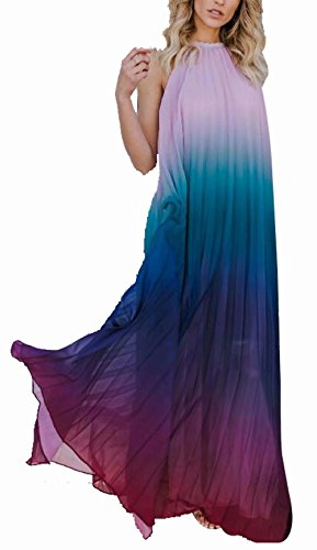 LUKYCILD Women Halter Neck Tie Dye Print Boho Maxi Dress Chiffon Casual Swing Maxi Dress Size S (Purple)