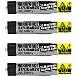 205mAh 25C - Fight Time and Power Battery Upgrade - Fits All: Blade Nano QX, QX FPV, Tiny Whoop,UMX Radian, Blade Inductrix, Champ, Sport Cub S (Pack of 4)