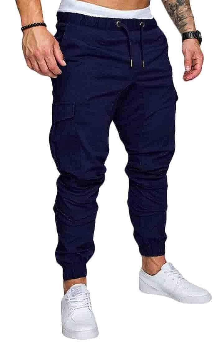 GAGA Mens Solid Slim Fit Drawstring Casual Multi-Pockets Harem Jogger Pants