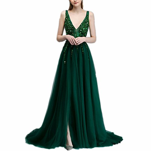 LeoGirl Womens Fairy Sequin Beaded Tulle Long Prom Dresses Side Slit Formal Gown (2, Emerald) (Beaded Dress Prom Mesh)