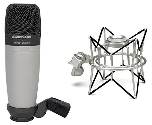 (Samson C01 Studio Condenser Recording Microphone Mic + Spider Shock Mount)