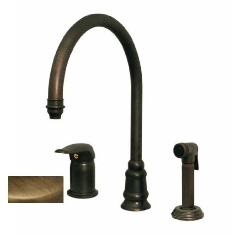 Whitehaus WH18664-ABRZ Evolution 9 1/2-Inch Three Hole Faucet with Single Lever Mixer, Gooseneck Spout, and Fluted Side Spray, Antique Bronze Evolution Single Lever Faucet