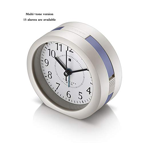 JQWGYNZ Alarm Clock, Silent Bedside Creative Music Multi-Function Simple Alarm Night Light Children Personality Lazy Small Alarm Clock (Color : Blue)