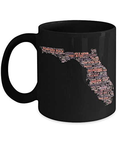Florida Cities In The Shape Of The State Black 11 oz Coffee - Melbourne Haven West The