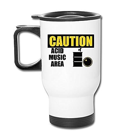 12oz Travel Mug - Caution Acid Music Area Mug (Digimon Travel Mug)