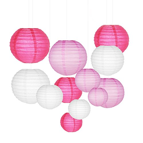Sonnis Paper Lanterns 12'' 10'' 8'' 6'' Round lanterns for Birthday Wedding Baby Showers Party Decorations pink (12pack) by Sonnis