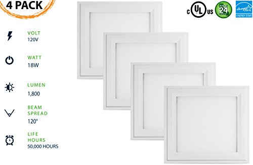 1x1 LED Flush-Mount Panel (4 PACK) 18W; 50,000 Life Hours; Dimmable to 5%; 120V; 1800 Lumens=100lm/w; CRI>90; Integrated Driver; UL, JA-8, Energy Star Listed; 5 YR Warranty (Soft White 3000K)