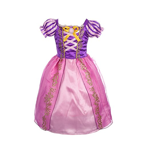 (Dressy Daisy Girls' Princess Rapunzel Dress up Fairy Tales Costume Cosplay Party Size 8)