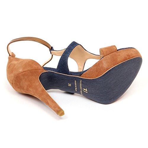 beige Denim Shoe Donna D2826 Trussardi Jeans Woman Blu Sandalo qwZXwIa