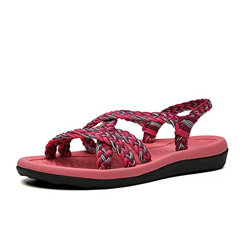 QLEYO Women's Comfortable Flat Walking Sandals with Arch Support Waterproof for Walking/Hiking/Travel/Wedding/Water Spot/Beach. ZDKDQL01-coral/purple-10