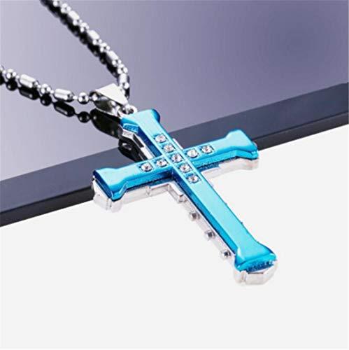 LOSOUL Fashion Titanium Steel Crystal Tag Pendant Cross Chain Necklace