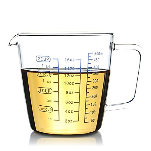 Rocaware 2 Cup Borosilicate Glass Measuring Cup with 50ML Intervals Scale New Kitchen Accessories Easy Measure Liquid Powder Milk Cups