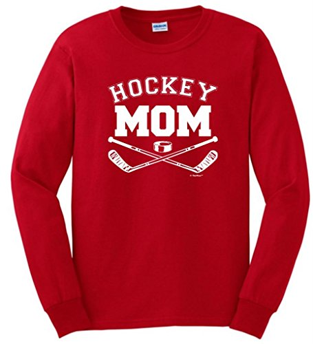 - Hockey Mom Long Sleeve T-Shirt Small Red
