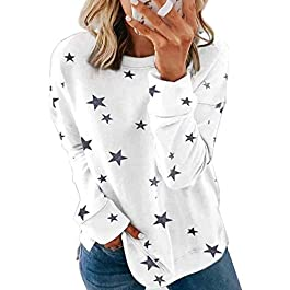 FARYSAYS Women's Casual Round Neck Long Sleeve Sweatshirt Loose Pullover Tops Shirts