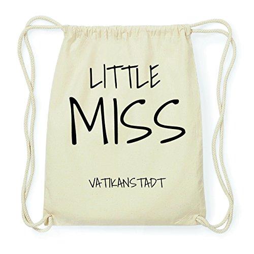 JOllify VATIKANSTADT Hipster Turnbeutel Tasche Rucksack aus Baumwolle - Farbe: natur Design: Little Miss