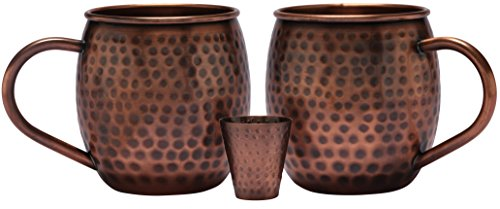 Melange 24 Oz Antique Finish Copper Barrel Mug for Moscow Mules, Set of 2 with One Shot Glass - 100% Pure Hammered Copper - Heavy Gauge - No Lining - Includes Free Recipe Card