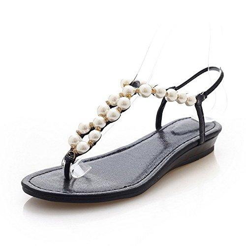 AllhqFashion Mujeres Cuero Tachonado Cordón elástico Puntera Dividida Mini Tacón Sandalia Negro
