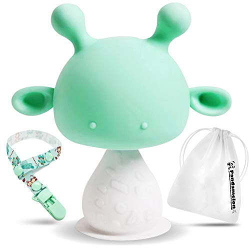 Silicone Baby Teething Toys Infant Rattling Teether Soothing Pacifier, BPA Free Teethers, Mushroom Teether (Green)