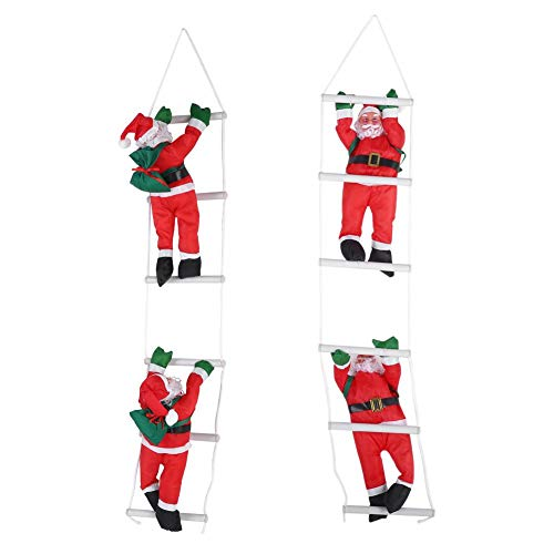 Yosoo Santa Claus Climbing on Rope Ladder for Christmas Tree Indoor Outdoor Hanging Ornament Decor Christmas Xmas Party Home Door Wall Decoration